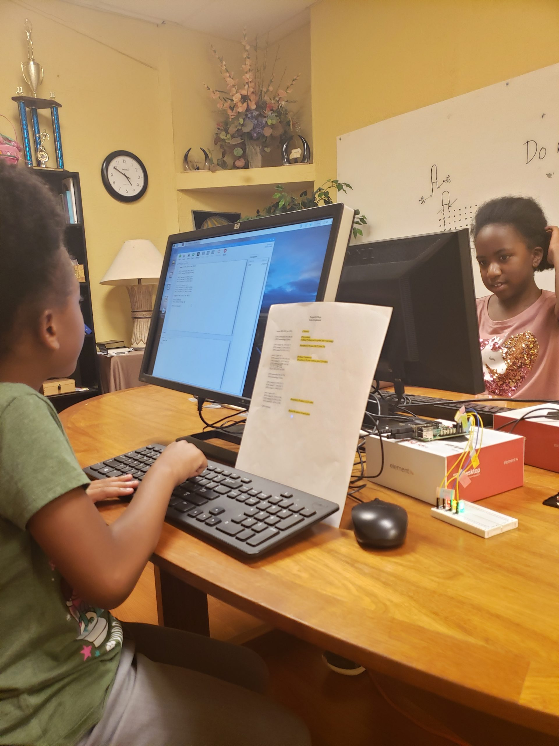 young girls coding with Python on the Raspberry Pi